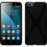Coque en Silicone pour Huawei Honor 4x - X-Style noir - Cover PhoneNatic Cubierta + films de protection