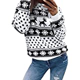 Womens Blouse New Hot Sale Fashion Loose Santa Clause Casual Elk Merry Christmas Xmas Floral Print Long Sleeve Blouse Top Sweatshirt By Neartime (L, Black)