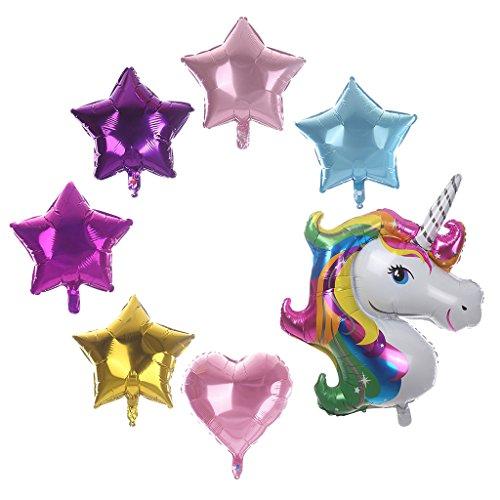 ugrato Set De Globos con Forma De Estrella Unicornio Y Corazón, Decoración De Fiesta Infantil, 87x11cm y 45x45cm