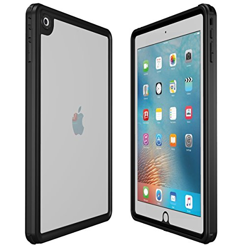 iPad Case(2017/2018), iThrough IP68 Waterproof Underwater Case for iPad (9.7 Inch),Heavy Duty Shock Drop Rain Snow Dust Proof Protective Case Slim Cover for All-NEW iPad with Lanyard (Black)