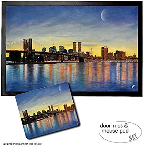 Set: 1 Fußmatte Türmatte (60x40 cm) + 1 Mauspad (23x19 cm) - New York, Brooklyn Bridge Bei Morgenröte Mit Skyline