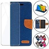 HYMY Denim Hülle für Wiko View 3 Lite + Schutzfolie Panzerglas Folie - Lederhülle Flip Schutzhülle Card Slot mit Brieftasche Handyhülle Bookstyle Flip Cover Case - Blau