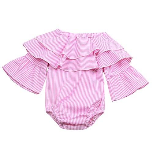 chen Kleider Sommer Kleidung Baumwolle Streifen Mädchen Strampler Langarm für 0-24 Monat ()