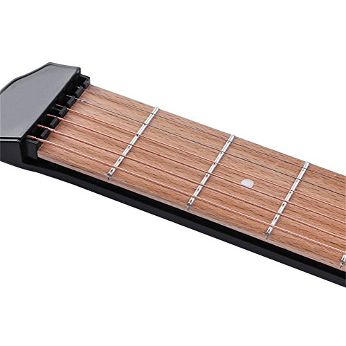 Portable Wooden Pocket Guitar - 6 Fret Portable Guitar Practice Tool Gadget For Beginner Chord Trainer Fingering Pratice Tool with Convenient Sorage Bag HCZ15