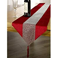 Panache Coloured Table Runner With Diamante Strip And Tassels (33cm X 183cm  (13 X