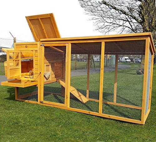 Grosser Hühnerstall für Winter und Sommer bis 4 Hühner 2.5m lang mit Nistkasten und Dach das geöffnet werden kann