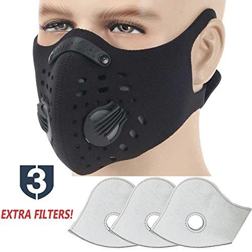 TOLEMI Anti-Verschmutzung Sport Maske Staubmaske Staubmaske mit 3 Filtern N99 PM 2,5 Verstellbare Nasenklammer Luftfilter Masken für Frauen Männer Grippe Outdoor Indoor Reiten Klettern, schwarz