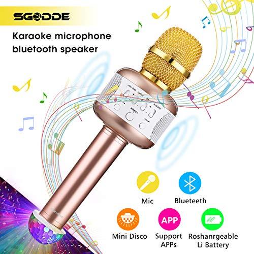 Karaoke Mikrofon Kinder Disco-Lichtern, SGODDE Bluetooth tragbare Mikrofon mit Lautsprecher für Erwachsene und Sohn oder Tochter für Sprach- und Gesangsaufnahmen,kompatibel mit Android/IOS, PC