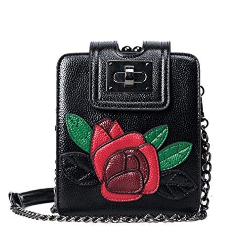 QPALZM Frau 2017 Art Und Weiseheftung Blumentelefonbeutel Miniketten-Schulterbeutel Black