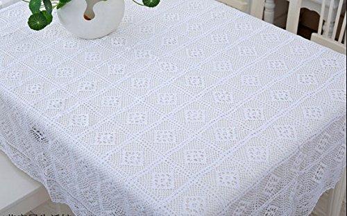 chaud à la main * Blanc Coton Crochet Filetage Nappe Thé Tissu de table en lin, Coton/lin, blanc, 85*140cm