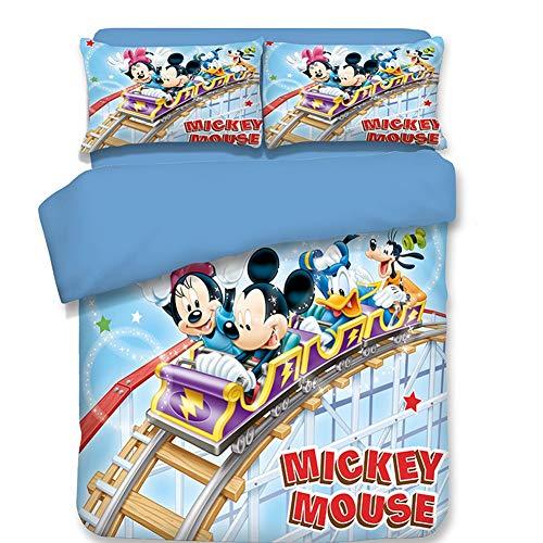 Bettwäsche-Set 3D-Druck blau Mickey Mouse 3 Stück weiche Mikrofaser mit 1 Bettbezug und 2 Kopfkissenbezug,Twin (Mickey-mouse-twin Bettwäsche)