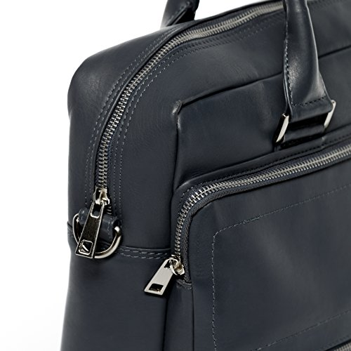 """FERGÉ Laptoptasche BETH - Notebooktasche groß fit für 15.4"""" mit gepolstertem Gerätefach- Businesstasche - echt Leder grau grau"""
