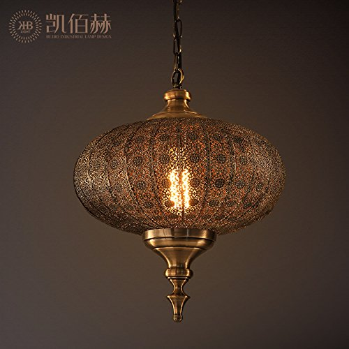 SDKKY IL Ristorante indiano Americano Vintage lampadario nordico Orientale del Sud - Est asiatico ??? Yi Metallo lampade Lanterna di lampadari, D300*H400MM