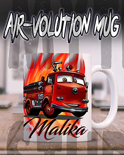 Mythic Airbrush Personalisierte Airbrush Red Feuerwehrauto Autos Keramik-Kaffeetasse Weiß (Geburtstag Autos Thema)