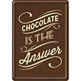 Nostalgic-Art 10247 Word Up - Chocolate is the Answer, Blechpostkarte 10x14 cm