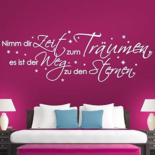Preisvergleich Produktbild Grandora® W769 Wandtattoo Zitat Nimm dir Zeit zum träumen.. weiß 172 x 58 cm
