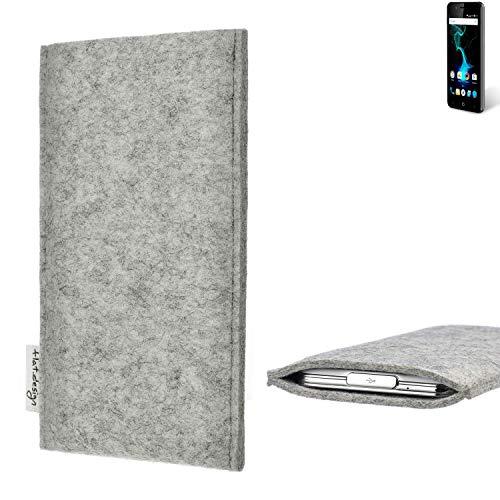 flat.design Handy Hülle Porto für Allview P6 Pro maßgefertigte Handytasche Filz Tasche Schutz Case fair grau