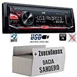 JVC KD-X141 - MP3 USB Autoradio - Android Steuerung - 4x50Watt - Einbauset für Dacia Sandero - JUST SOUND best choice for caraudio