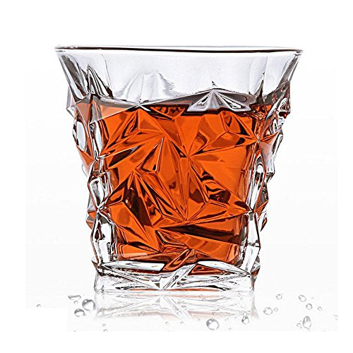 Aolvo Cool Whiskey Brillen, Diamantschliff Whiskey Ultra Scotch Führen Frei Elegant-Likör, Spülmaschinenfest, Classic Old Fashioned Barartikel, Rum Vodka Gläser 10 oz Diamond Cut Whiskey Glasses (Whiskey Glas Cut)