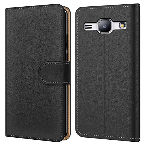 Conie BW30567 Basic Wallet Kompatibel mit Samsung Galaxy J1 Mini 2016, Booklet PU Leder Hülle Tasche mit Kartenfächer und Aufstellfunktion für Galaxy J1 Mini 2016 Case Schwarz