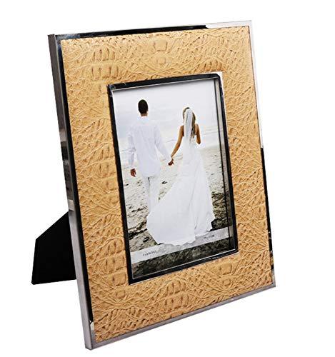 Wohnaccessoires Bilderrahmen-Bilderrahmen 6 Zoll 7-Zoll-Dekorations-Beschaffenheits-Leder-Bilderrahmen-Ausgangshorizontale Und Vertikale Anzeige 5X7 Zoll (Gold-antiken 5x7 Rahmen)