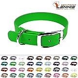 LENNIE BioThane Halsband, Dornschnalle, 25 mm breit, Größe 44-52 cm, Neon-Grün, Aufdruck möglich, 4 Größen, 48 Farben, Hundehalsband