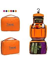 LAZYMARTS Portable Travel Toiletry Zipper Cosmetic Makeup Pouch Storage Hanging Bag - ORANGE