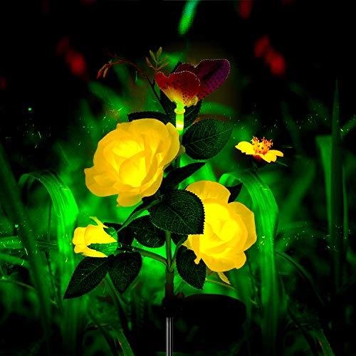 Mr.Twinklelight® Solarleuchte Garten, Solar Rose Blumen Garten Lampen 3 Kopf Solarlicht mit Schmetterling LED Lichter Außen Dekoration Lichter für Garten/Rasen/Feld/Terrasse (Gelb) (Rose Licht Garten Solar)