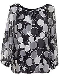 Moda Italia Damen Bluse Aus Chiffon in Carmen Style mit Polka Dots Tupfen  Elegante Pump Ballonbluse Mehrfarbig… 9dd8e7b89f