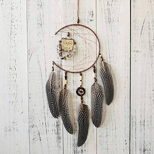 YUJIE Dream Catcher,Handmade Brown Dreamcatcher WithOwl Feather Decorations Wedding For Kids Room Adorno Craft Gift For Boy Girl
