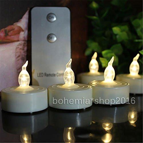 Preisvergleich Produktbild EMOTREE 12x LED Kerze Deko Teelichter Elektrisch Flackernd Flammenlos Licht mit Fernbedienung (Warmweiß)