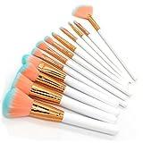 Moonuy Neue 15 Stk,18 Stk,20 Stk Make-up Pinsel Set, Make-up Augenbrauen Mascara Pinsel, Schwamm Pinsel, Smudge Pinsel Toilettenartikel Wolle Make Up Pinsel Set (Weiß (12 Stk Set))
