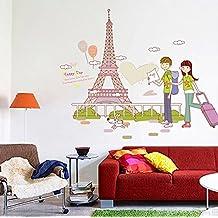 ufengke® Los Amantes de Los Viajes A La Torre Eiffel Pegatinas de Pared, Sala de Estar Dormitorio Removible Etiquetas de La Pared / Murales
