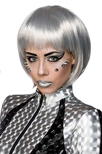 Atixo Space Hair - silber, Größe (Silber Girl Space Kostüm)
