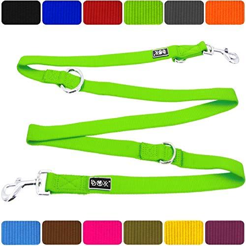 DDOXX Hundeleine Premium Nylon | 4fach verstellbar | für große, mittelgroße, mittlere & Kleine Hunde | Hundeleinen | Führleine | Doppelleine | Flexi ble Leine Hund | Grün, S - 1,5 x 200 cm