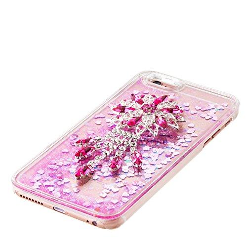 iPhone 6S Plus Hülle, iPhone 6 Plus Hülle, Gift_Source [ Gold & Engel Krone ] Schutzhülle harte plastik Schutz Handy Hülle Case, Creative 3D strom flüssiger durchdrungen von glitzer und sterne Hülle C E1-Rosa & Lotus