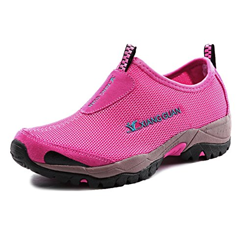 XIANG GUAN Women's Breathable Mesh Strap Light Weight Sport Slip-on Walking Outdoor Water Shoes Casual Sneakers 3409 Pink 39