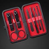 CDFD 7 teilesatz Neue Maniküre Nagelknipser Pediküre Set Tragbare Reisehygiene Kit Edelstahl Nagel Werkzeug Set, Rot