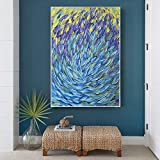 NIMCG Obra de Arte Lienzo Pintura Abstracta pez Lienzo Pintura océano mar Azul decoración del hogar Arte de la Pared Imagen para Sala póster y reproducción de impresión (sin Marco) A1 50x70 cm