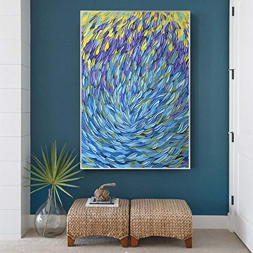Opere d'arte tela pittura pesce astratto tela pittura oceano mare blu decorazione della casa arte della parete immagine per soggiorno poster e riproduzione riproduzione (senza cornice) A1 50x70 CM