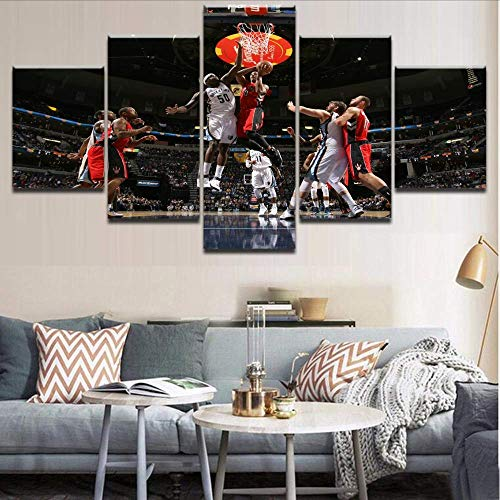 Wuwenw Canvas Hd Printing 5 Pieces Painting Pictures Modular Framework Wall Art Basketball Club Toronto Sport Painting For Home Decor,12X16/24/32Inch,Without Frame