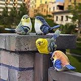 Treasure-House 6PCS Deko Figur Vogel Vögelchen Kleiber zum Stellen im Set, aus Polystein blau orange weiß, Dekofigur Vögel Dekovögel