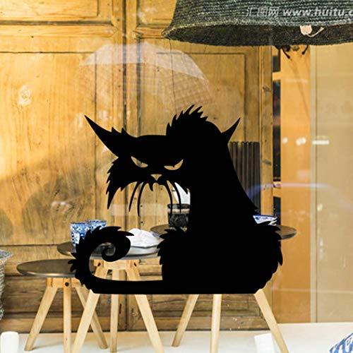 wandaufkleber wandtattoos Ronamick Vinyl abnehmbare 3D Wandaufkleber Halloween schwarze Katze Dekor Decals für Wände Aufkleber Wandtattoo Sticker Wanddeko (Schwarz)