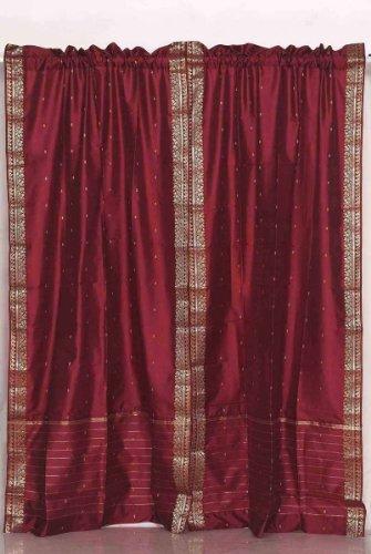 Maroon Rod Pocket Sheer Sari Vorhang/Tuch/Panel–Stück, Polyester, Rotbraun, 60 X 108 Inches (Maroon Sari)