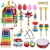 Ballery Instruments de Musique pour Enfants, 24 pièces Instruments de Musique en Bois Percussion pour Bébé avec Xylophone, Tambourin, Triangle et Autre Instrument Jouets dans Un Sac de Transport...