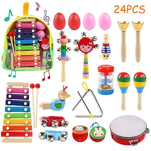 Ballery Musikinstrumente Kinder, 24 Stück Musikinstrumente Holz Percussion Set Schlagzeug, Schlagwerk Spielzeug Set Kinder Schlaginstrument Musikalisches Vorschulunterricht Pädagogisches Xylophone