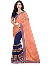 Riva Enterprise Women's Lycra Pallu Embroidred Orange And Navy Blue Color Women Saree (RIVA139_)