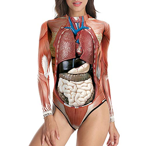 Jodimitty Halloween Kostüme Damen Badeanzug Langarm Einteilig Anatomie Horror