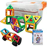 60 Pcs Magnetic Blocks Set - STEM Educational Magnetic Construction Building Tiles Toys For Kids- With Storage Box (Multi Color)