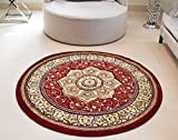Royal Teppiche Orient Perser Style Heritage Classic Traditionelle Hand geschnitzte Teppich, rund, rot, 150 cm (4ft11